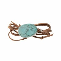 Scout Currated Wears Suede & Stone Wrap Bracelet/Necklace SUEDE/STN WRAP Turquoise/Silver