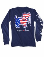 Puppie Love USA Pup L/S Tee S Navy