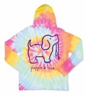 Puppie Love Tie Dye Pup Adult Hoodie Tee M Aerial
