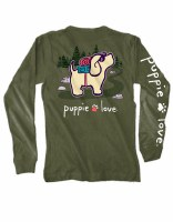 Puppie Love Hiking Pup L/S Tee S Military Green