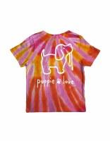 Puppie Love Tie Dye Pup Short Sleeve Youth Tee 10-12 Sunset