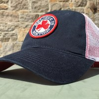 Sully's Tees Believe In Boston Red Shamrock Mesh Trucker Hat One Size Navy/Red