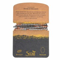Scout Currated Wears Stone Wrap Bracelet/Necklace STONE WRAP  Raw Hematite/Rose Gold