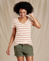 Toad & Co  Marley II Short Sleeve Tee L Desert Wide Stripe