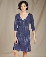 Toad & Co  Rosalinda Dress Small True Navy V Print