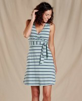Toad & Co  Cue Sleeveless Dress L Blue Surf Wide Stripe