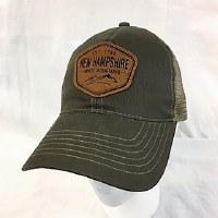 Royal Resortwear New Hampshire Leather Patch Trucker Cap One Size Moss