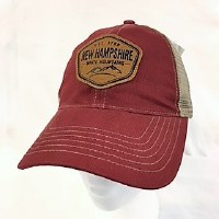 Royal Resortwear New Hampshire Leather Patch Trucker Cap One Size Red