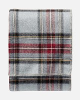 "Pendleton Eco-Wise Washable Wool Plaid/Stripe King Blanket 108""x96"" Grey Stewart Plaid"