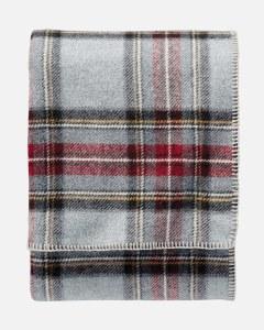 "Pendleton Eco-Wise Washable Wool Plaid/Stripe King Blanket 108""x96"" Grey Stewart Plaid"
