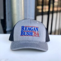 Reagan Bush '84 Trucker Hat (Gray/Royal)