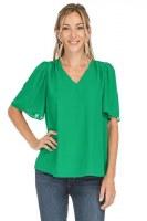 Jade V-neck Flutter Sleeve Top
