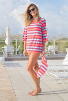 Haley and the Hound Terry Boatneck Cover Up Multi Stripe