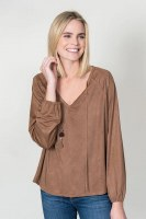 Dylan Luxe Suede V-neck Blouse