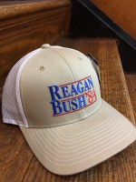 Reagan Bush '84 Trucker Hat (Khaki/White)