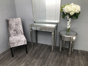 Mirrored Dressing Table With A Drawer, Slim Stylish Silver Charleston