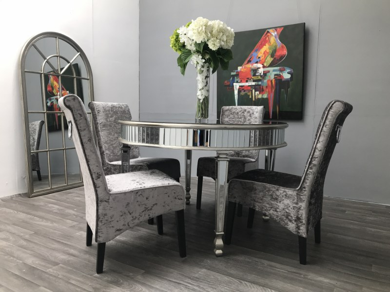 Mirrored DINING Table - ROUND Luxury Glass TOP Edge (New York)