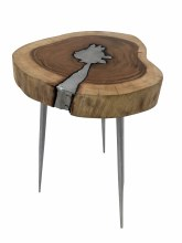 Artistic Side Table 100% Natural Wooden Top And Aluminium Finish