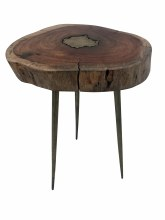 Artistic Side Table 100% Natural Wooden Top With Brass Infil And Legs