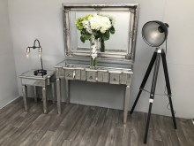Mirrored Console Table With 3 Drawers Long - Vintage Silver Charleston