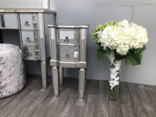 Mirrored Bedside Table - 2 Drawers, Vintage Silver Finish, Charleston