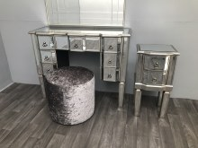 Mirrored Dressing Table With 7 Drawers, Vintage Silver Edge Charleston