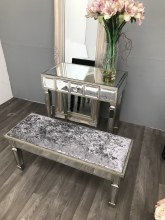Mirrored Stool For Dressing Table - Vanity-Velvet Upholstery, Charleston