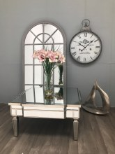 Mirrored Coffee Table - Square Vintage-Shape Silver Finish, Charleston