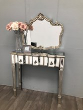 Mirrored Console Table With 3 Drawers Slim Vintage Finish Charleston