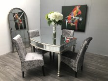 Mirrored Dining Table - 4-Seater With Luxury Glass Finish (New York)