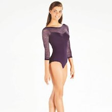 **SALE - WAS 50 NOW 30** Light/Floral Lace Leotard E-10999LE - Purple