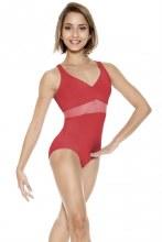 Short sleeved Mesh Panel Leotard RDE1641 - Red