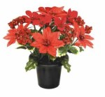 25cm Red Poinsettia Glitter Bouquet