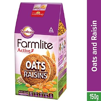SUNFEAST FARMLITE ACTIVE OATS AND RAISINS COOKIES 150GM