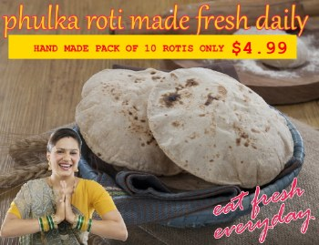 HAND MADE WHOLE WHEAT FULKA ROTI - CHAPPATI - PACK OF 10