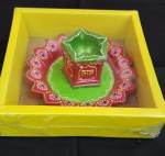 FANCY CLAY TULSI DIYA/DIWA WITH PLATE NO WAX