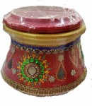 FANCY CLAY GARBA MATKI/ MATLI (RED AND GOLDEN)