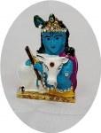 METAL FANCY KRISHNA WITH COW (BLUE) 1.5INCH