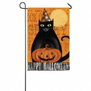 """18"""" x 12"""" Mini Halloween Night Black Cat Flag"""