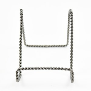 """4"""" Twisted Distressed Silver Metal Finish Wire Plate Stand"""