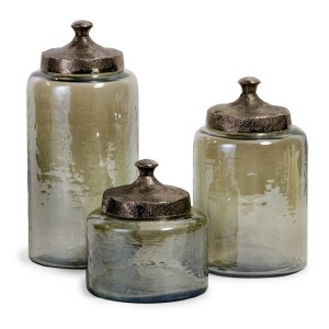 """13"""" Set of 3 Green Glass Canisters"""
