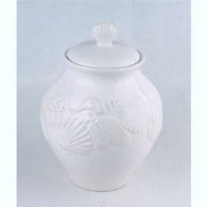 """10"""" Ceramic White Shell Jar"""