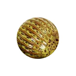 "4"" Yellow Ribbed Ceramic Orb"