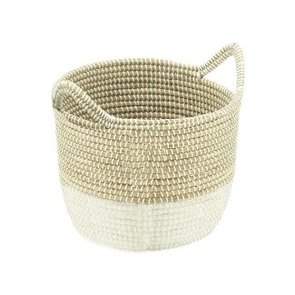"16"" Round Natural and White Woven Seagrass Basket with Handles"