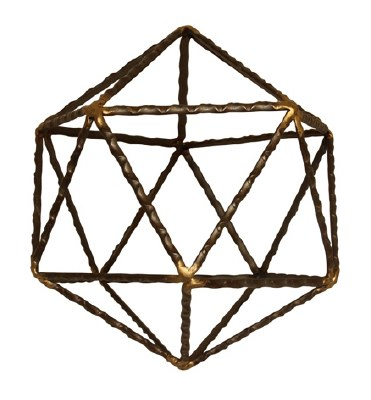 """6"""" Brown and Gold Textured Metal Icosahedron Sculpture"""