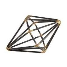 """4"""" Black and Gold Open Wire Diamond Sculpture"""