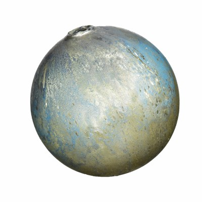 """5"""" Blue and Silver Matte Painted Decorative Glass Orb"""