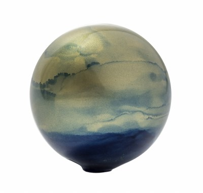 """3"""" Round Blue and Gold Painted Glass Orb"""