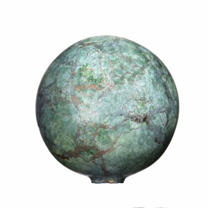"""3"""" Turquoise and Copper Painted Glass Orb"""
