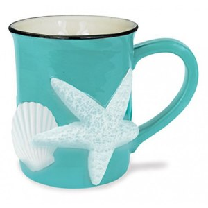 15 oz. Aqua Hand Sculpted 3D Sea Star and Shell Ceramic Mug